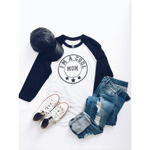 I'm a cool mom baseball tee Baseball mom themed tee Next Level 6051 baseball tee heather white/heather black