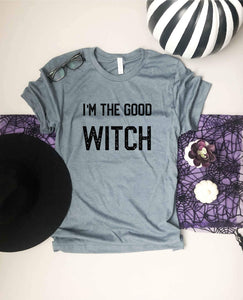 I'm the good witch tee Short Sleeve halloween tee Bella canvas 3001 heather slate
