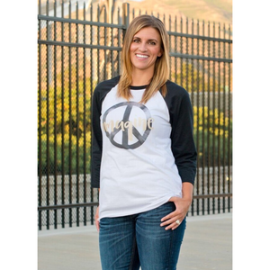 Imagine Peace baseball tee Baseball tee for a cause Bella Canvas 3200 baseball tee white/black