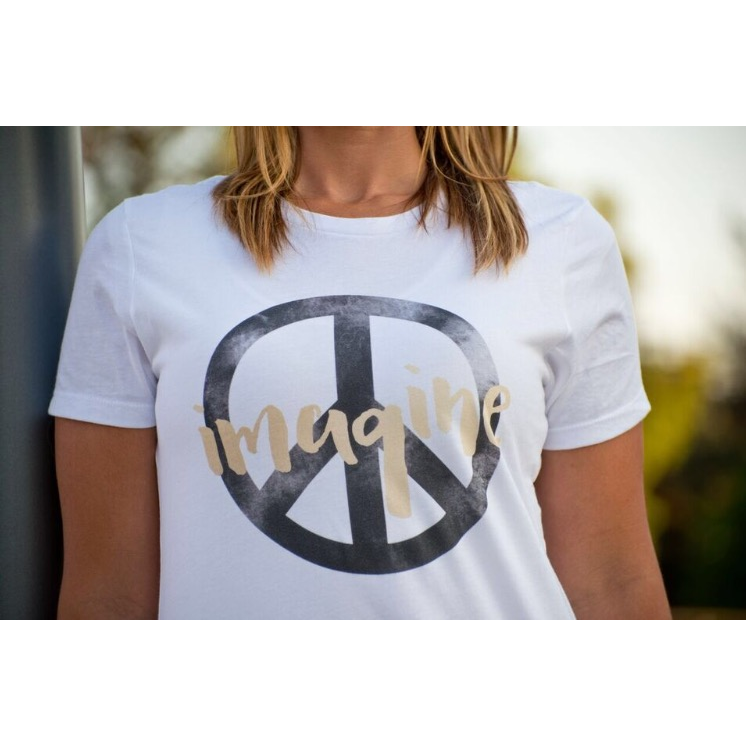 Imagine Peace tee(black sign) Short sleeve tee for a cause Bella Canvas 3001 white