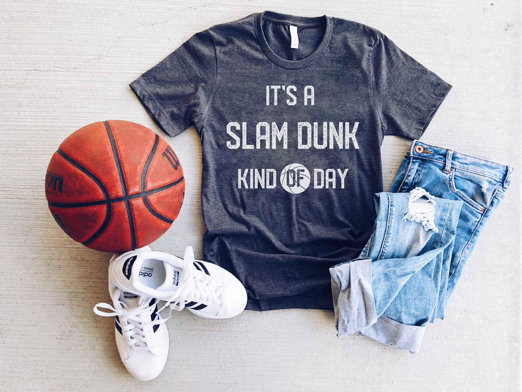It's a slam dunk kind of day- kids tee Short sleeve basketball tee Bella Canvas 3001 dark heather grey
