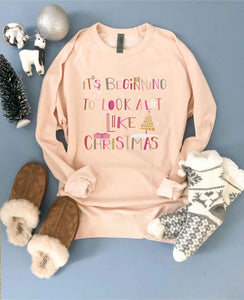 It's beginning to look like Christmas french terry raglan sweatshirt Holiday French Terry raglan Cotton heritage French Terry raglan XS Pale Pink