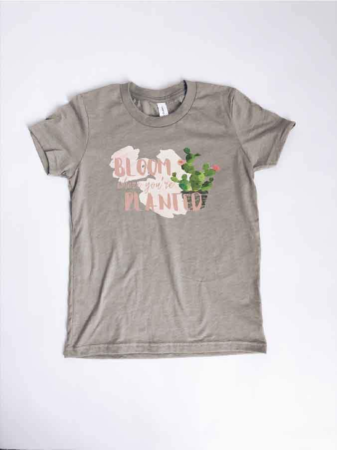 Kids Bloom where you are planted tee Kids Short sleeve tee Bella canvas youth tee