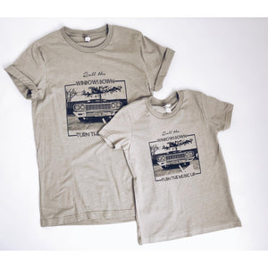 Kids Roll the Windows Down tee Kids Short sleeve tee Next Level 3310 kids tee heather grey