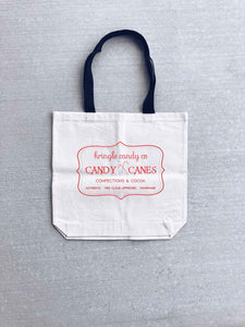 Kris Kringle Candy co tote bag Holiday tote bag Heavy canvas tote bag- natural/black- medium