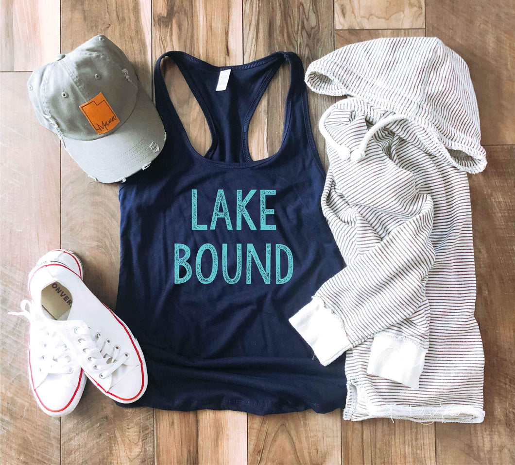 Lake bound racerback tank Lake racerback tank Next level 1533 tank navy