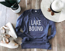 Lake bound- white font french terry raglan Lake French Terry raglan Cotton heritage French Terry raglan XS Heather navy