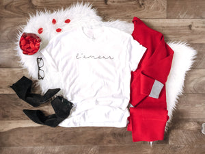 L'amour tee Short sleeve valentines day tee Bella Canvas 3001 white
