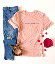 L'amour tee Short sleeve valentines day tee Bella Canvas 3001 XS Heather peach