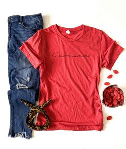 L'amour tee Short sleeve valentines day tee Bella Canvas 3001 XS Heather red