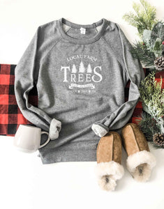 Local farm trees french terry raglan sweatshirt Holiday French Terry raglan Cotton heritage and lane seven French Terry raglan