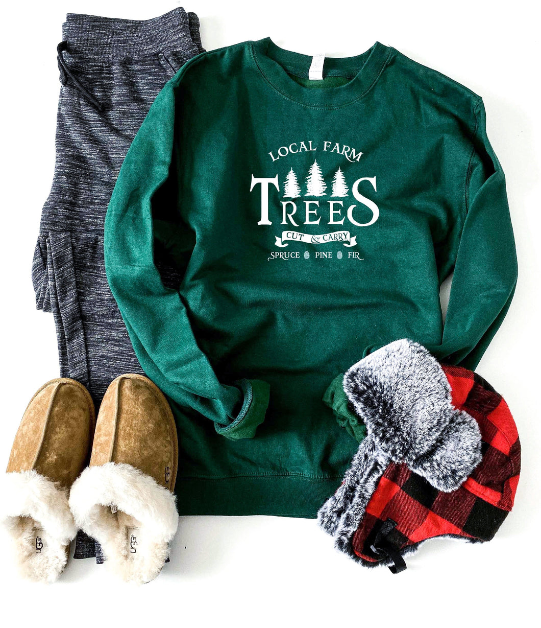 Local farm trees sweatshirt Holiday French Terry raglan Independent Trading company lightweight sweatshirt