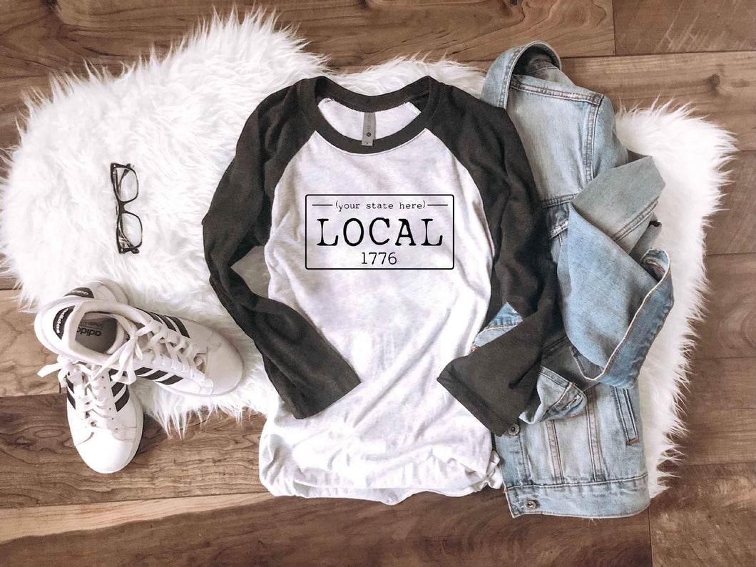 Local license baseball tee- N-S Local long sleeve tee Bella Canvas long sleeve
