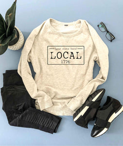 Local license french Terry raglan sweatshirt- Alabama, Alaska, Arizona, Arkansas, California, Colorado, Connecticut, State sweatshirt Lane seven unisex sweatshirt
