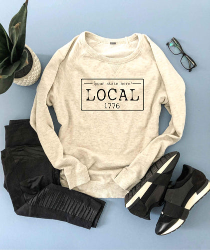 Local license french terry raglan sweatshirt- Tennessee,Texas,Utah,Vermont,Virginia,Washington,West Virginia,Wisconsin,Wyoming State French Terry raglan Lane seven and cotton heritage French Terry raglans