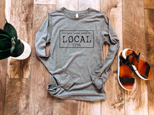 Local license long sleeve tee- T-W Local long sleeve tee Bella Canvas long sleeve