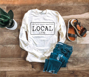 Local License plate long sleeve state tee- Alabama, Alaska,Arizona,Arkansas,California,Colorado,Connecticut Long sleeve state tee Cotton heritage long sleeve and Bella canvas 3005 long sleeve