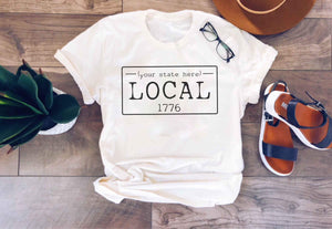 Local License plate short sleeve state tee- Alabama, Alaska,Arizona,Arkansas,California,Colorado,Connecticut Short sleeve state tee Bella canvas 3001 cream and deep heather
