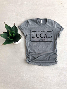 Local license plate state tee- D-I Short sleeve state tee Bella Canvas 3001 natural and deep heather