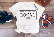 Local license plate state tee- D-I Short sleeve state tee Bella Canvas 3001 natural and deep heather XS Cream Georgia
