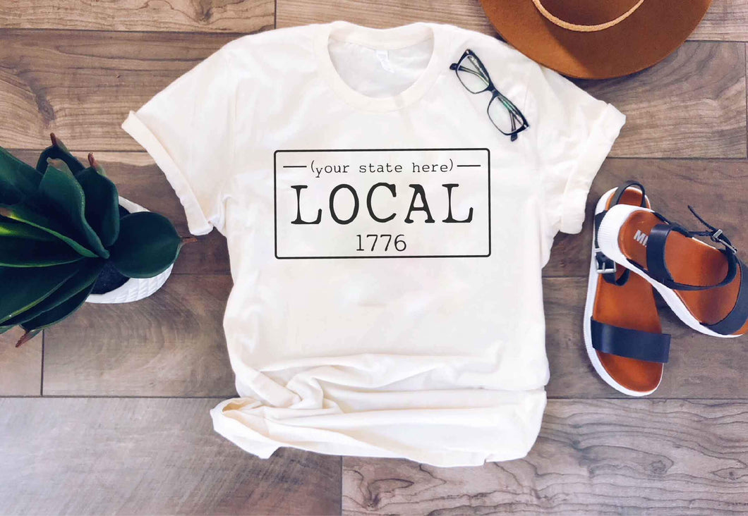 Local license plate state tee- N-O Short sleeve state tee Bella Canvas 3001 natural and deep heather XS Cream New Hampshire