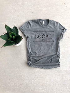 Local license plate state tee- N-O Short sleeve state tee Bella Canvas 3001 natural and deep heather XS Heather Grey New Hampshire