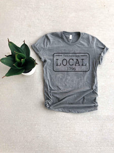 Local license plate state tee- O-T Short sleeve state tee Bella Canvas 3001 natural and deep heather