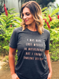Lost myself in Motherhood Short sleeve mom tee Bella Canvas 3001 dark heather grey