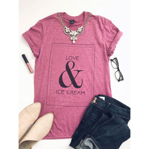 Love & Ice Cream in heather raspberry Short sleeve valentines day tee Anvil 980 in heather raspberry