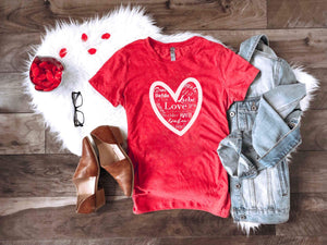 Love languages Short sleeve valentines day tee Bella canvas 3001 heather red