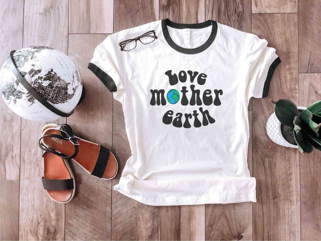 Love mother earth ringer tee Short sleeve miscellaneous tee Next Level ringer natural/black