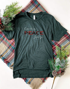 Love peace joy tee Short sleeve holiday tee Bella Canvas 3001 dark heather grey