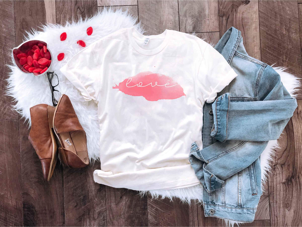 Love watercolor tee Short sleeve valentines day tee Bella Canvas 3001 Natural
