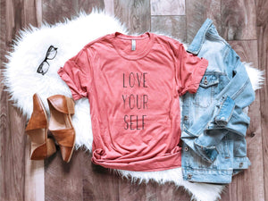 Love Yourself Short sleeve valentines day tee Next Level 3600 smoked paprika