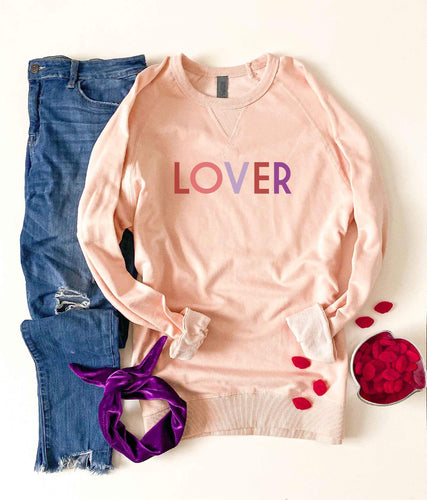 Lover french terry raglan sweatshirt Valentines French Terry raglan Cotton heritage and lane seven French Terry raglan XS Pale pink