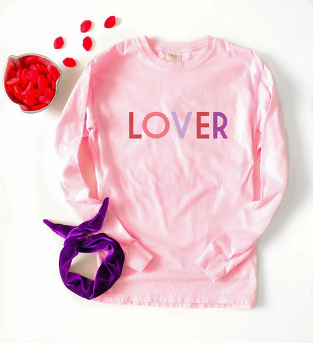 Lover long sleeve tee Long sleeve valentines day tee Comfort colors long sleeve pink blossom