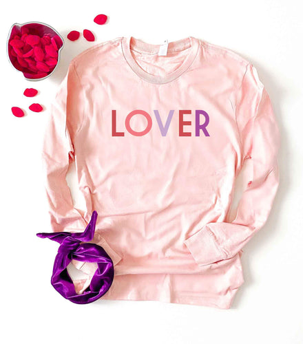 Lover pale pink long sleeve tee Long sleeve valentines day tee Lane seven pale pink long sleeve tee