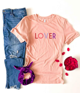 Lover tee Short sleeve valentines day tee Bella canvas 3001 heather red