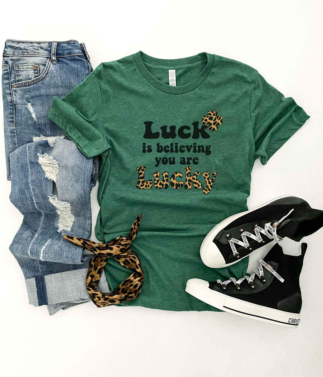 Luck is believing you are lucky tee Short sleeve holiday tee Bella Canvas 3001 grass green