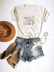 Made in the south tee Short sleeve graphic tee Bella Canvas 3001 heather oatmeal
