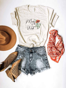 Made in the west tee Short sleeve graphic tee Bella Canvas 3001 heather oatmeal