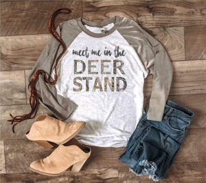 Meet me in the deer stand- Venetian grey tri-blend Hunting baseball tee Next level 6051 Venetian grey