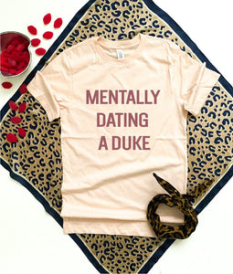Mentally dating a duke tee Short sleeve valentines day tee Bella Canvas 3001 heather peach