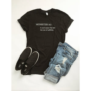 Momster tee Short sleeve mom tee Bella Canvas 3001 Heather Black