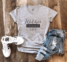 Motherhood life tee Short sleeve mom tee Next Level 6240 heather grey