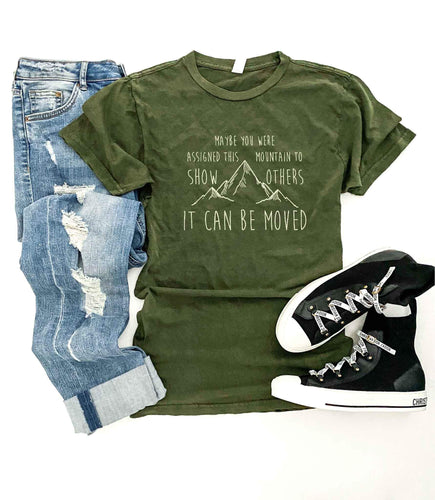 Mountains can be moved vintage wash tee Short sleeve travel tee Lane Seven vintage tee olive green