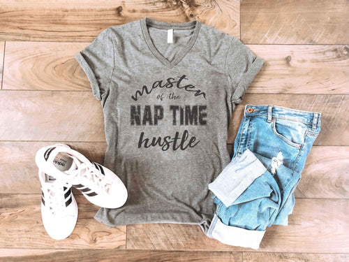 Nap time hustle tee Short sleeve mom tee Bella Canvas 3005 deep heather