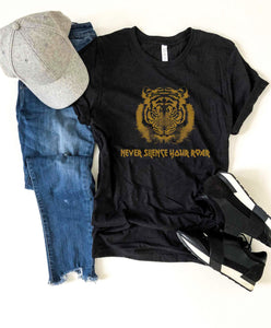 Never silence your roar tee Miscellaneous French Terry raglan Bella Canvas 3001
