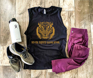 Never silence your roar unisex muscle tank Fitness tank Bella canvas unisex muscle tank- royal blue