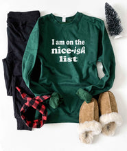 Nice-ish list sweatshirt Holiday French Terry raglan Lane seven unisex sweatshirt S Forest green